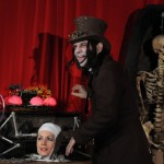 Dr Odd with Doris the Living head on Coffin TV