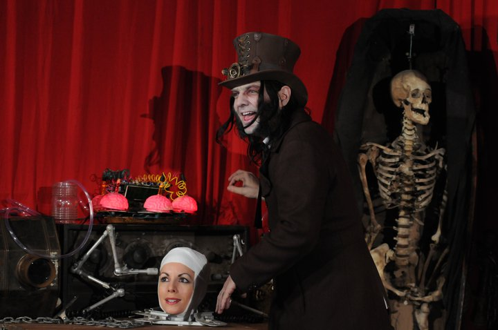 odd medicine show dr odd with doris the living head on coffin tv